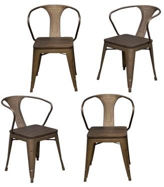 LOFT AmeriHome Rustic Gunmetal Metal Dining Chair with Wood Seat- 4 Piece