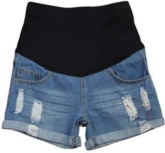 OCHENTA Women's Summer Adjustable Maternity Pregnant Denim Shorts