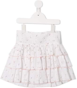 Velveteen short ruffled skirt