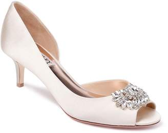 Badgley Mischka Macie Satin Peep-Toe Pumps