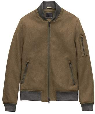 Banana Republic Italian Melton Wool Blend Bomber Jacket