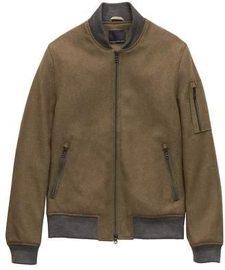 Banana Republic Italian Melton Wool-Blend Bomber Jacket