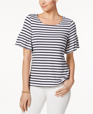 Charter Club Striped Flutter-Sleeve Top, Only at Macy's $44.50 thestylecure.com