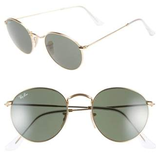 Ray-Ban Icons 50mm Round Metal Sunglasses