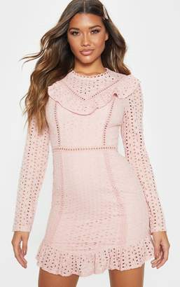 80ab5499150f4 PrettyLittleThing Dusty Pink Broderie Anglaise Frill Collar Shift Dress