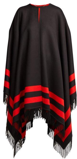 Striped Wool Blend Cape - Womens - Black Red