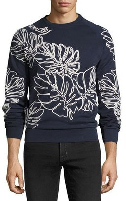 Moncler Leaf-Embroidered Sweatshirt, Navy $615 thestylecure.com