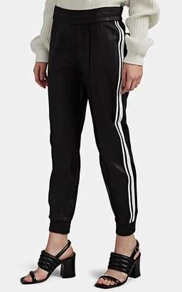 Sprwmn Women's Striped Leather Jogger Pants - Black