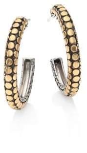 John Hardy Dot 18K Yellow Gold & Sterling Silver Hoop Earrings