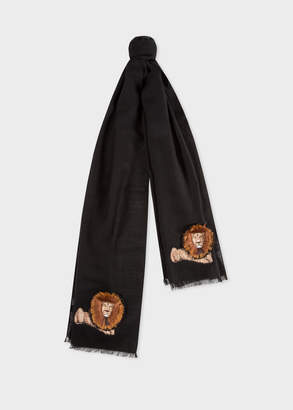 Paul Smith Men's Black 'Lion' Embroidery Wool Scarf