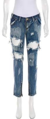 One Teaspoon One x Low-Rise Distressed Jeans