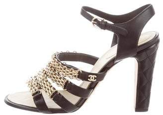 Chanel Chain-Trimmed Leather Sandals