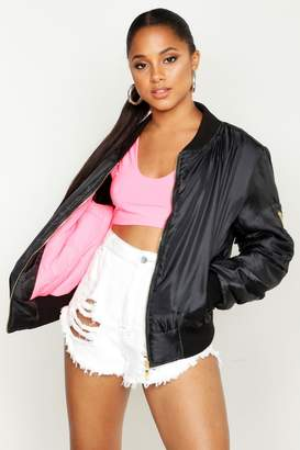 boohoo Neon Pink Lined MA1 Bomber Jacket