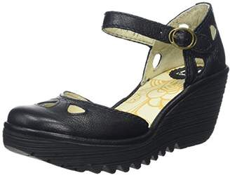 Fly London Yuna Women's Wedge Sandals - Black (Black), (41 EU)