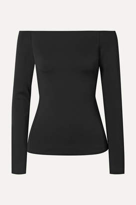 Theory Off-the-shoulder Stretch-scuba Top - Black