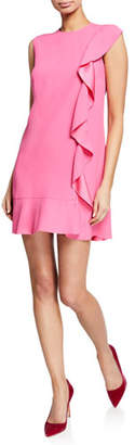 RED Valentino Sleeveless Mini Crepe Dress with Satin-Back Ruffle