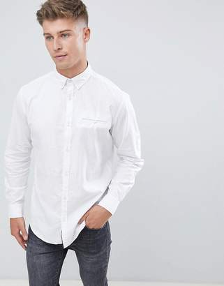 Jack and Jones Originals Slim Fit Linen Mix Shirt With Roll Up Sleeve Detail