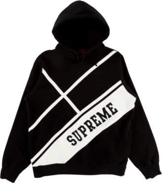Supreme Diagonal Hooded Sweatshirt - 'SS 18' - Black