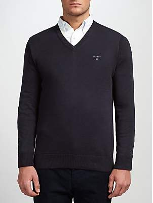 Gant Lightweight Cotton V-Neck Jumper, Navy