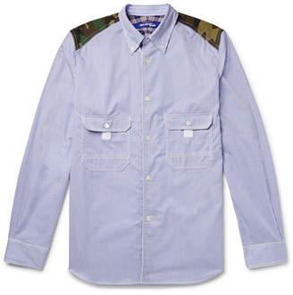 Junya Watanabe Button-Down Collar Contrast-Trimmed Striped Cotton-Poplin Shirt