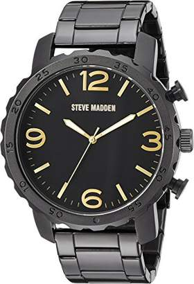 Steve Madden Men's SMW095GU-G Analog Display Japanese Quartz Black Watch
