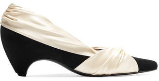 Stella McCartney Two-tone Knotted Satin And Faux Suede Pumps - Cream
