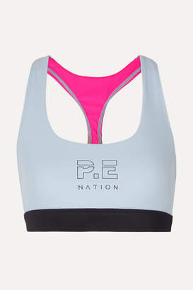 P.E Nation Saber Printed Color-block Stretch Sports Bra - Light blue