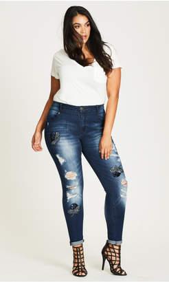 City Chic Embellished Skinny Harley Jeans