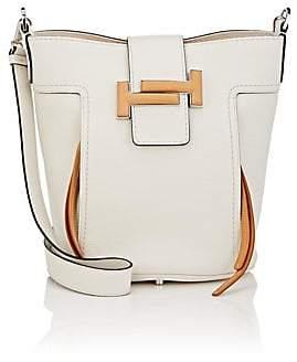 Tod's Women's Double T Medium Leather Bucket Bag - White