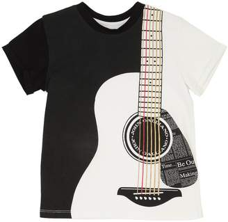 John Galliano Guitar Print Cotton Jersey T-Shirt