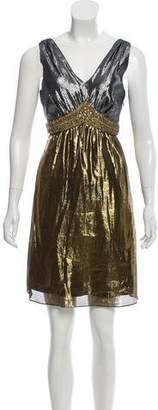 Miguelina Metallic Silk Dress