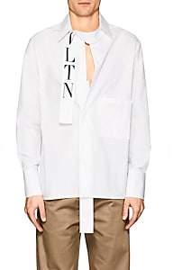 Valentino Men's Placket-Detail Cotton Oversized Shirt - White