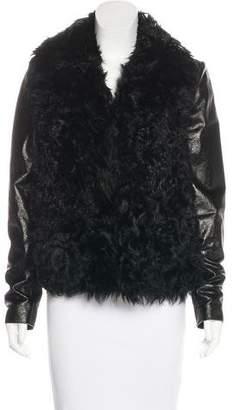 L'Agence Lamb Fur-Trimmed Leather Jacket