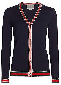 Gucci Women's V-Neck Merino-Wool Cardigan