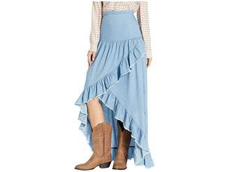 Scully Tamia Ruffle Lightweight Denim Skirt