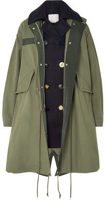 Sacai Layered Wool And Cotton-blend Twill Coat - Army green
