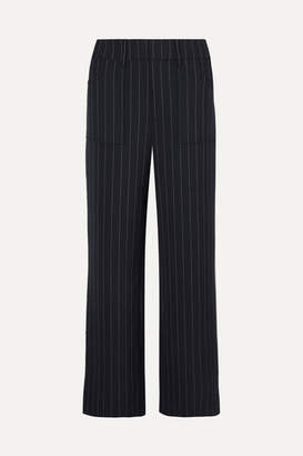 Ganni Hewitt Pinstriped Cady Straight-leg Pants - Midnight blue