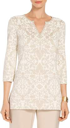 St. John Gold Leaf Brocade Knit V-Neck Tunic