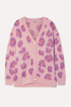 Miu Miu Oversized Intarsia Mohair-blend Cardigan - Pink