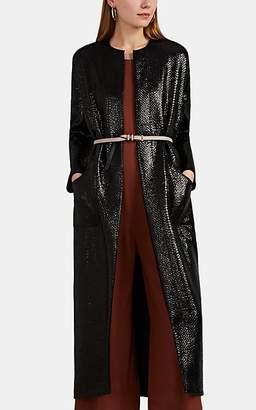Zero Maria Cornejo Women's Koya Lacquered Basket-Weave Coat - Black