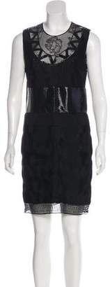 Versace Woven Lace-Trimmed Dress