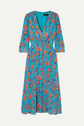 Saloni Eve Printed Silk Crepe De Chine Midi Dress - Blue