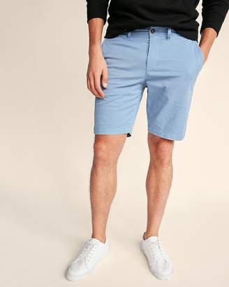 Express Slim Fit 9 Inch Garment Dyed Flat Front Stretch Shorts