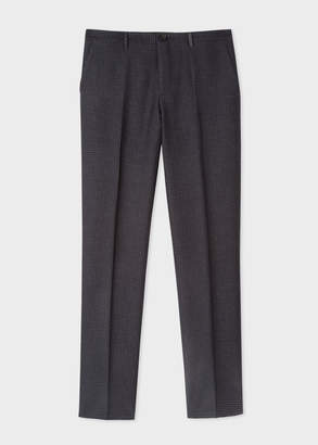 Paul Smith Men's Mid-Fit Dark Navy Textured-Check Wool-Blend Trousers