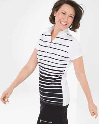Zenergy Striped Embellished Polo Shirt