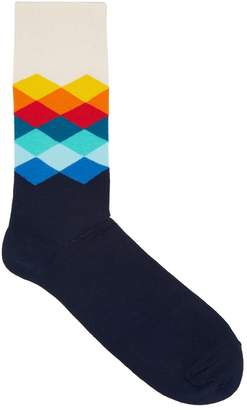 Happy Socks Faded Diamond Navy Cotton Blend Socks