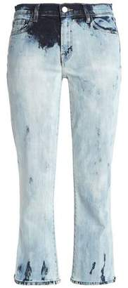 J Brand Cropped Bleached Mid-Rise Boot-Cut Jeans