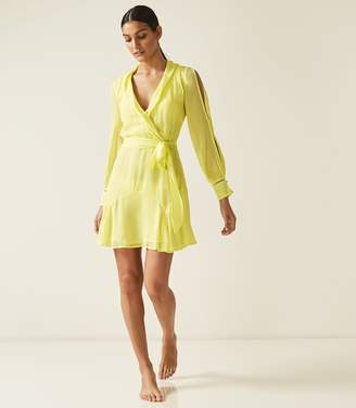 Reiss ARACELLI SHEER MINI WRAP DRESS Lemon
