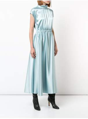 ADAM by Adam Lippes Silk Charmeuse Sleeveless Turtleneck Dress With Ruched Waist