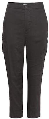 Vince Linen-blend cropped cargo trousers